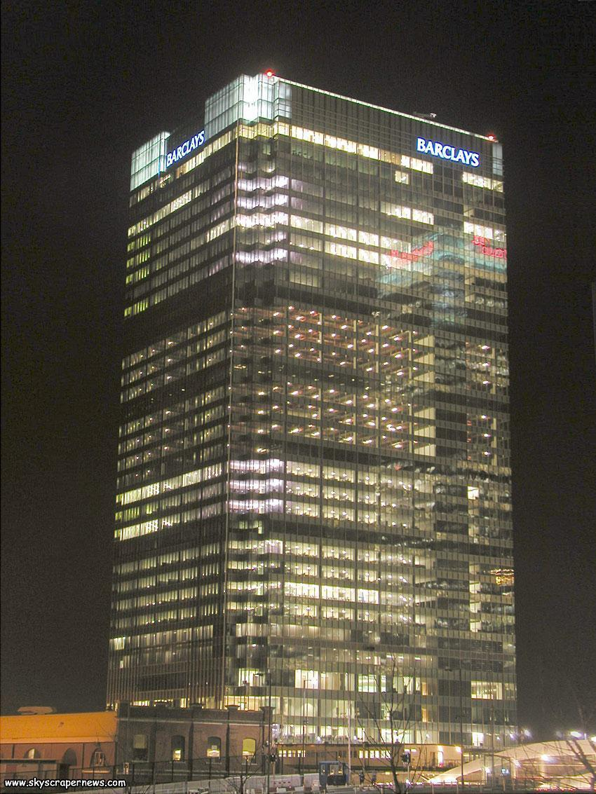 1 Churchill Place at night