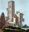 A print of the ruined West Tower of Osney Abbey